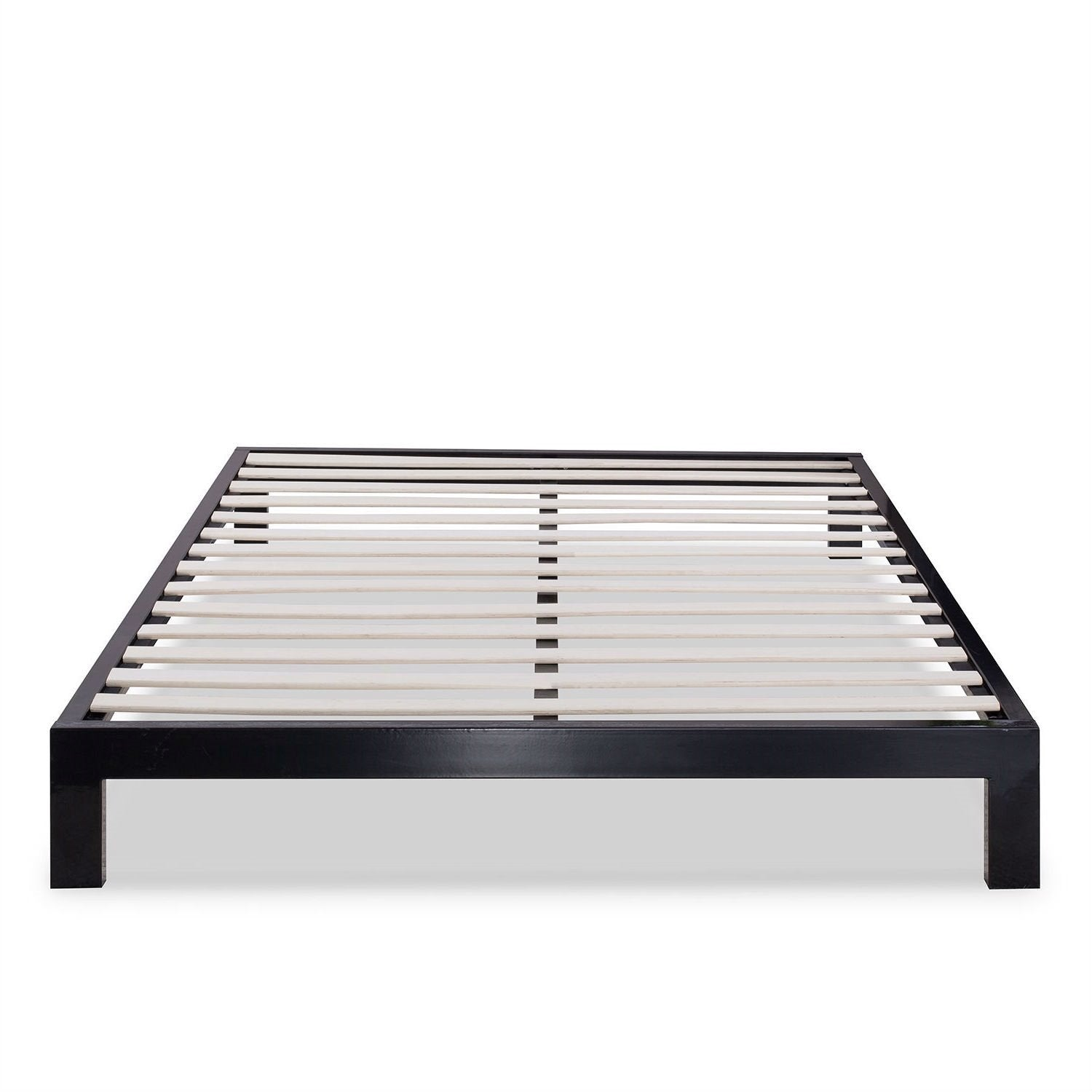 Queen Modern Black Metal Platform Bed Frame with Wooden Slats