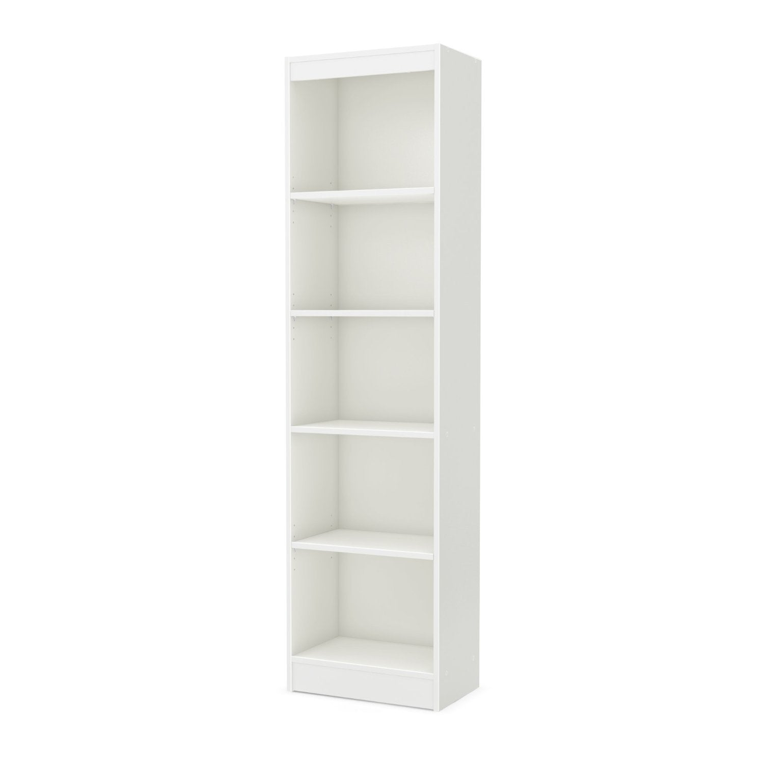 5-Shelf Narrow Bookcase Storage Shelves in White Wood Finish