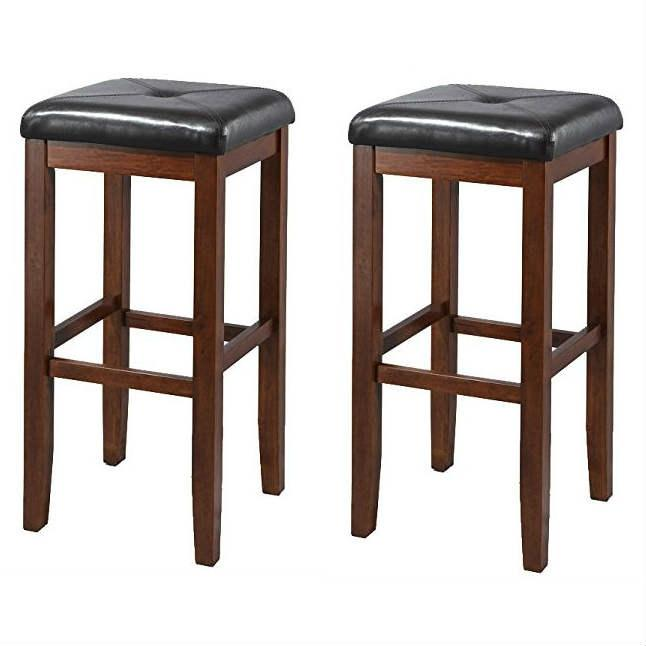 Set of 2 Vintage Mahogany Stools with Black Upholstered Seat