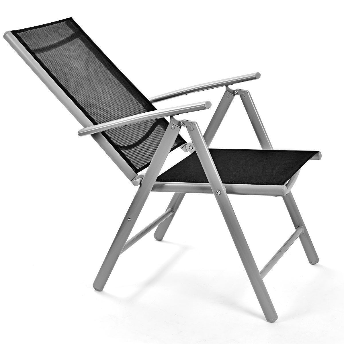 Set of 2 Folding Outdoor Patio Chairs with Black Mesh Seat and Grey Metal Frame