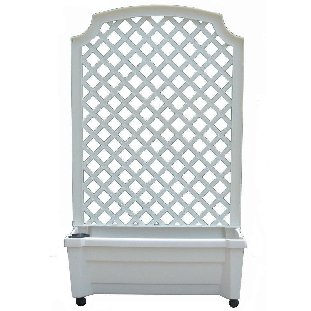 Indoor/Outdoor White Plastic Self Watering Planter with Trellis on Wheels
