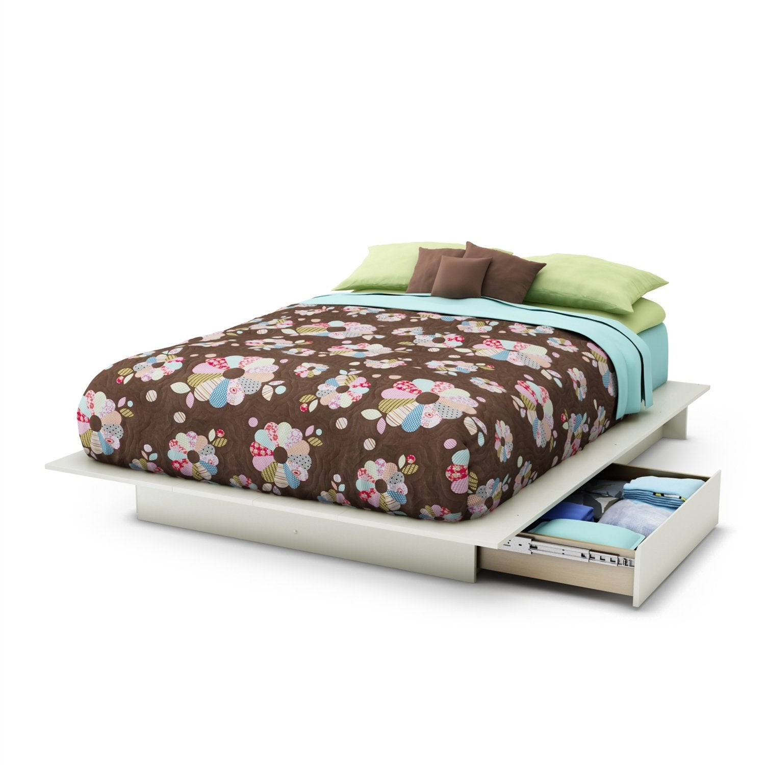 Queen size Modern Platform Bed with 2 Storage Drawers in White Finish