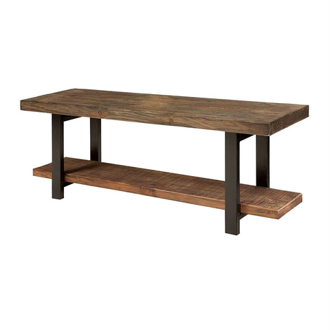 Modern Industrial Style Wood and Metal Accent Bench