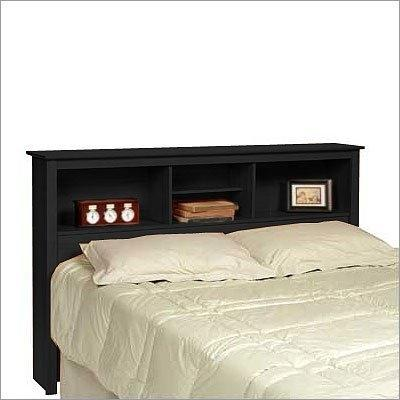 Queen-size Storage Headboard in Black Finish