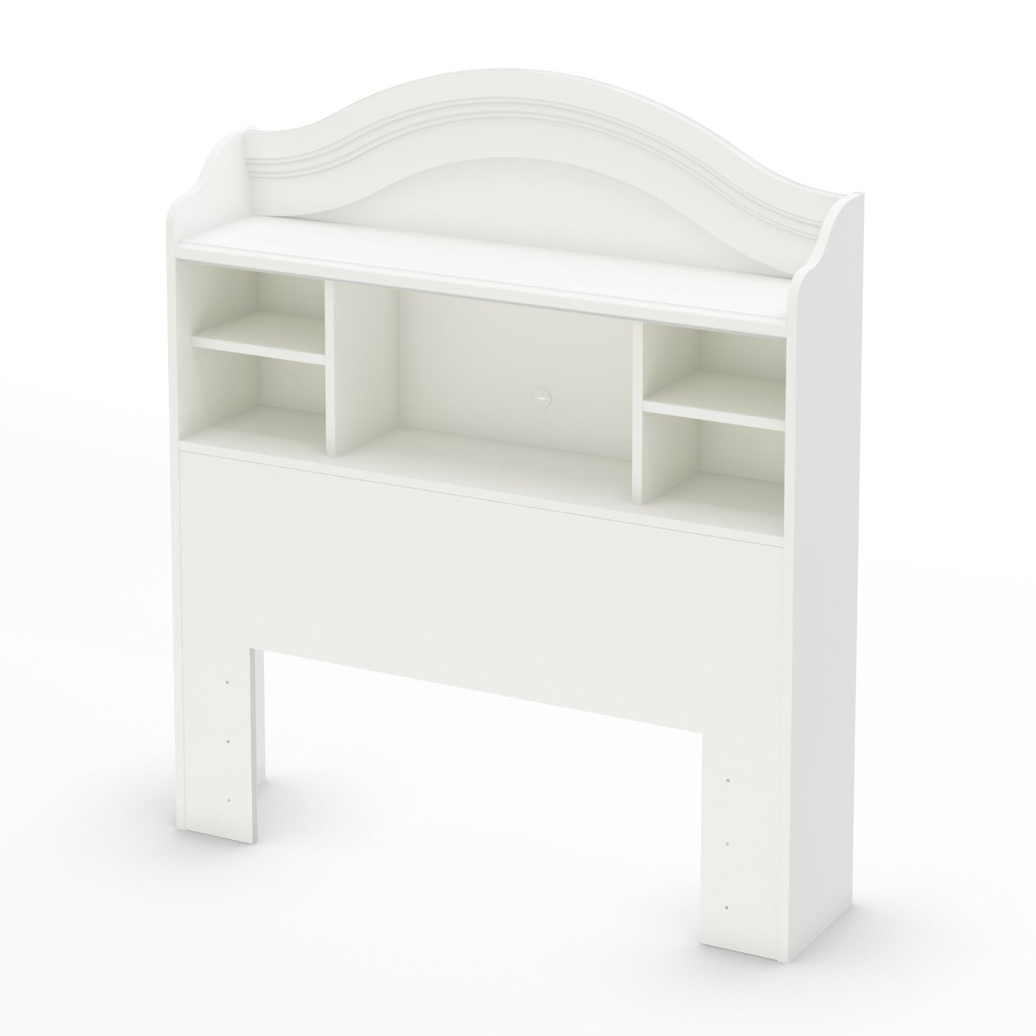 Twin size Arched Bookcase Headboard in White Wood Finish
