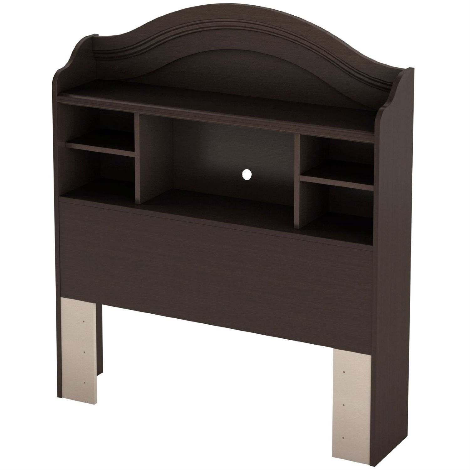 Twin size Arch Top Bookcase Headboard in Chocolate Finish