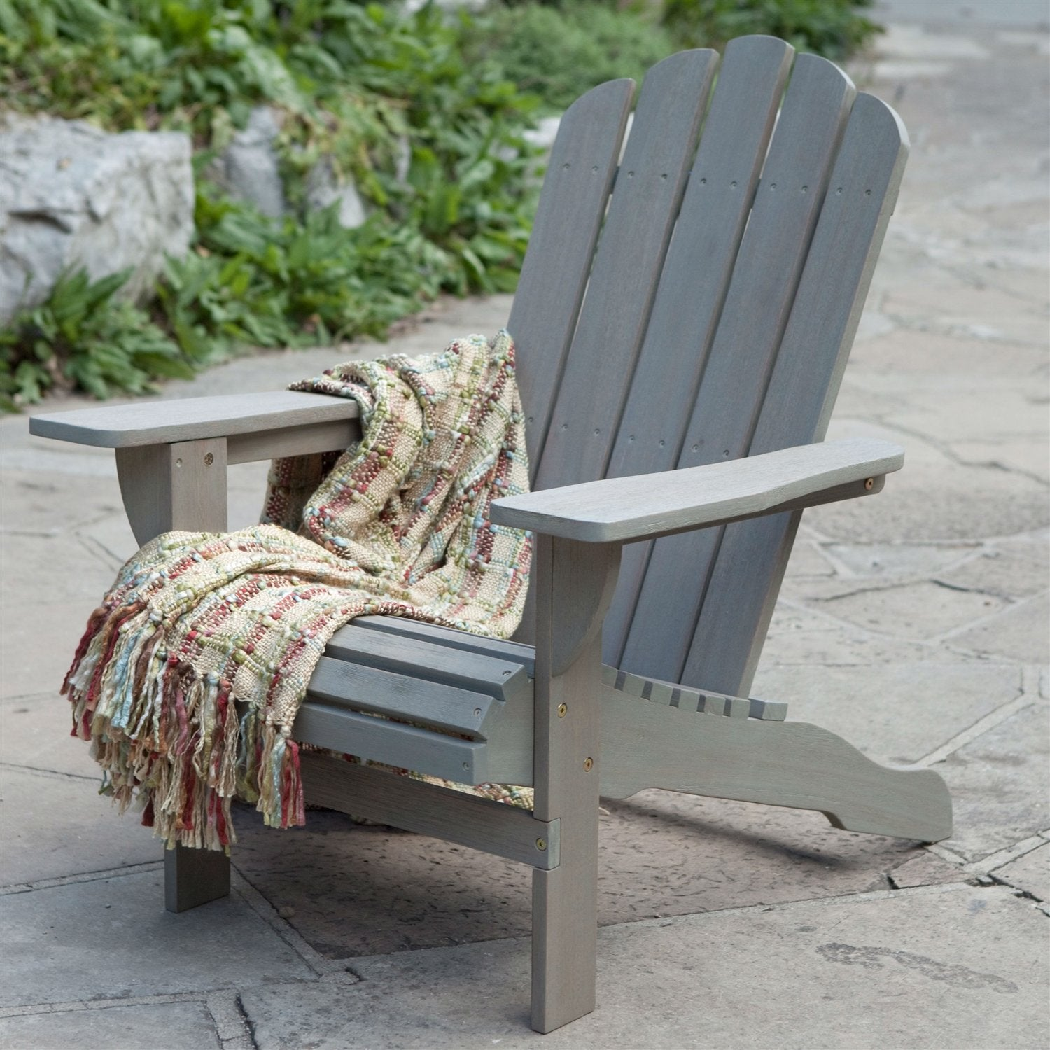 Eco-Friendly Eucalyptus Wood Adirondack Chair in Driftwood Color