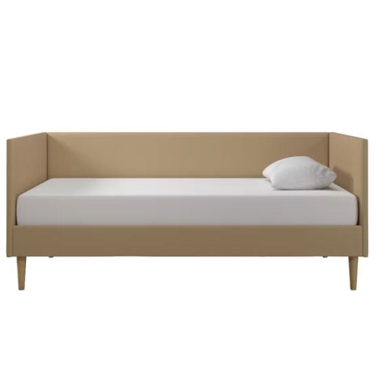 Twin Mid-Century Modern Tan Linen Upholstered Daybed
