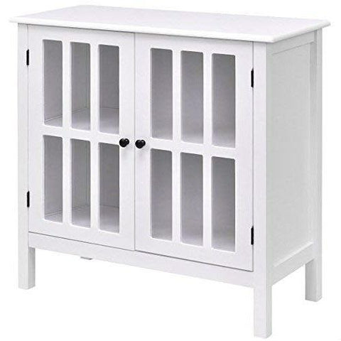 White Wood Bathroom Storage Floor Cabinet with Glass Doors