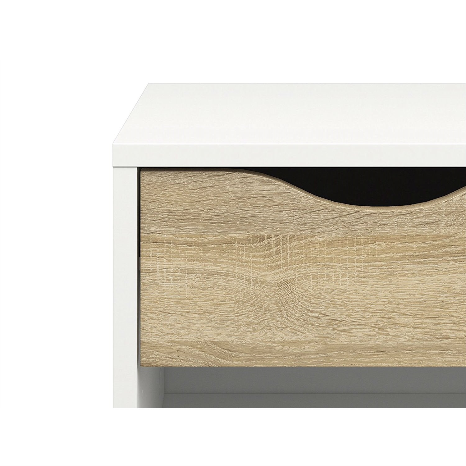 Modern Mid Century Style End Table Nightstand in White & Oak Finish