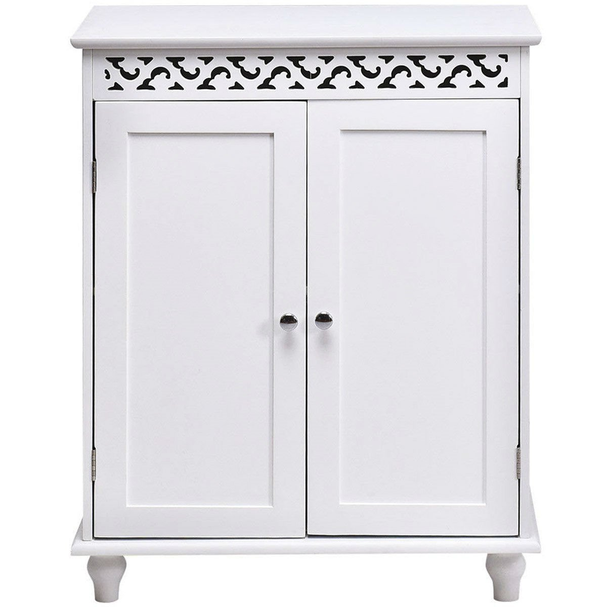 White Modern 2-Door Bathroom Storage Floor Cabinet