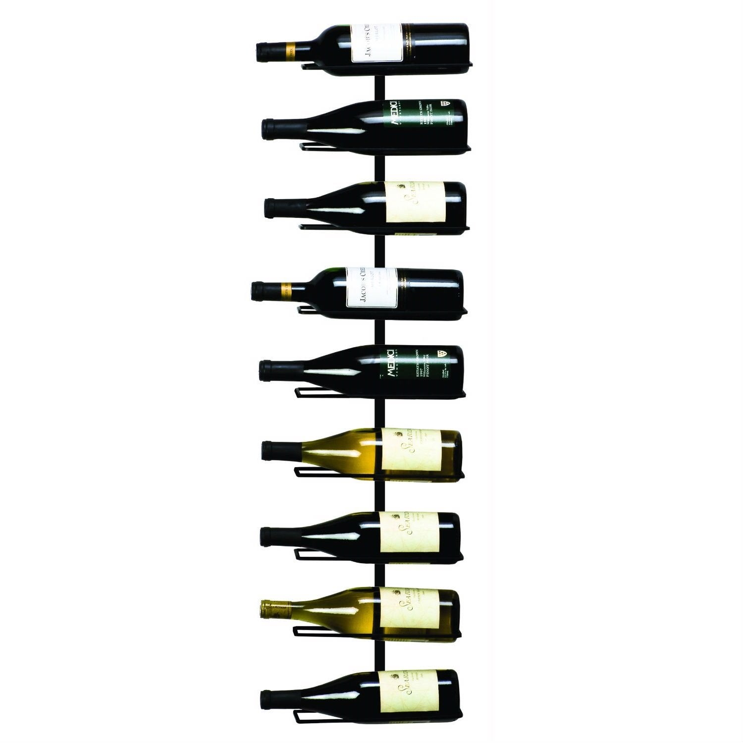 9-Bottle Wine Rack Wall Mounted Sturdy Wrought Iron