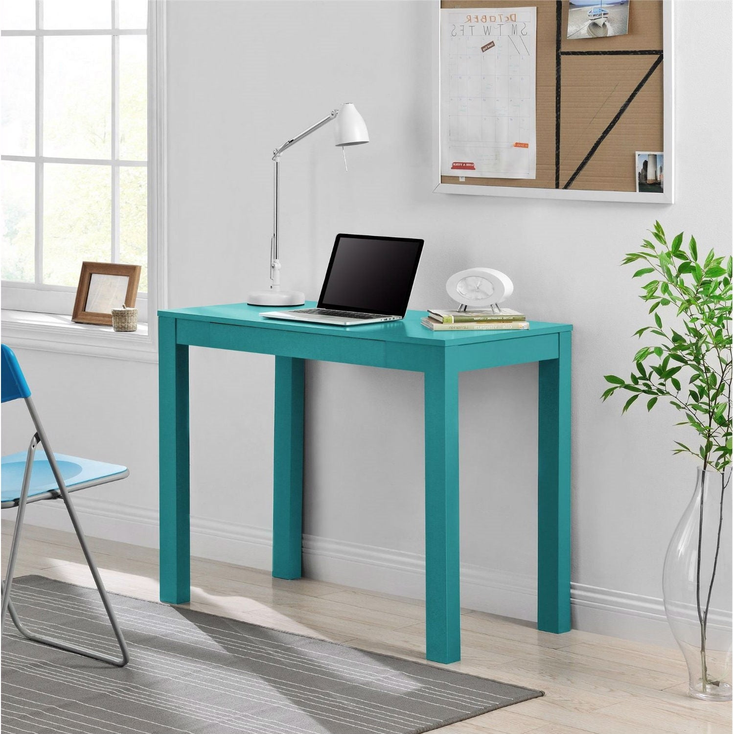 Teal Green Home Office Laptop Desk Writing Table with Drawer