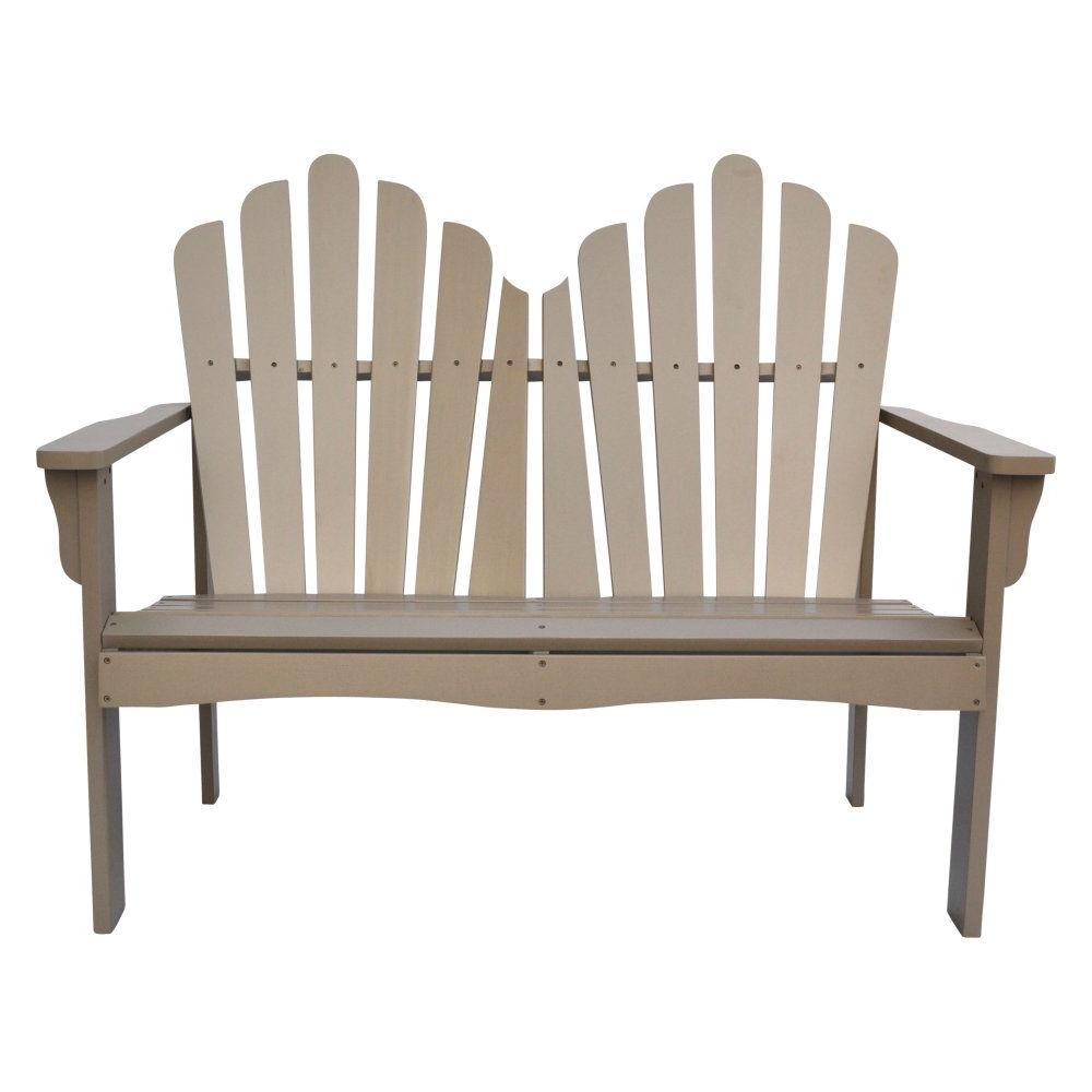 Outdoor Cedar Wood Loveseat Garden Bench in Taupe Grey Finish