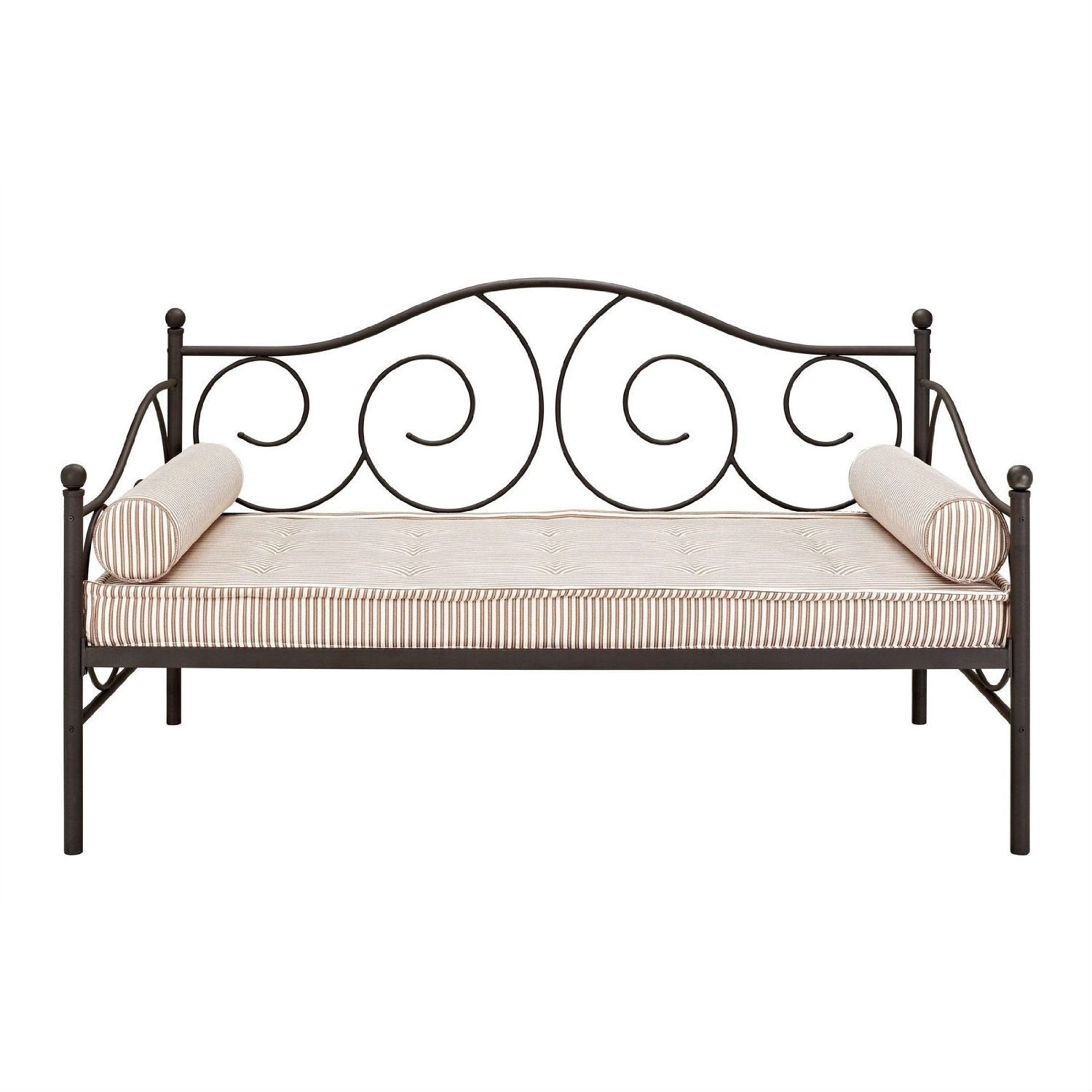 Twin size Scrolling Metal Day Bed Frame in Brushed Bronze Dark Pewter