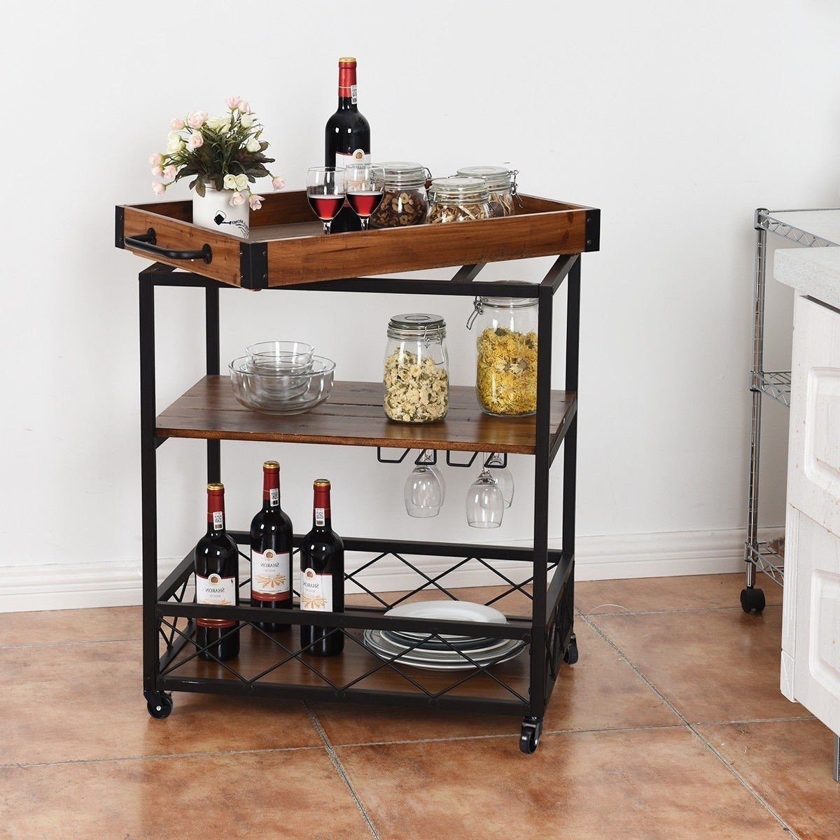 Wood Iron Kitchen Cart with Removable Tray Top and Wheels