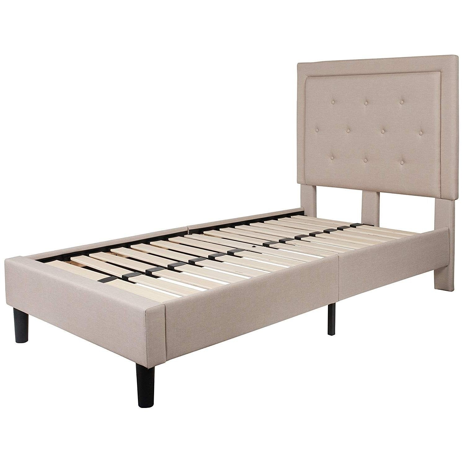 Twin Beige Fabric Upholstered Platform Bed with Button Tufted Headboard