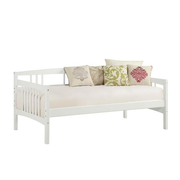 Twin size Traditional Pine Wood Day Bed Frame in White Finish