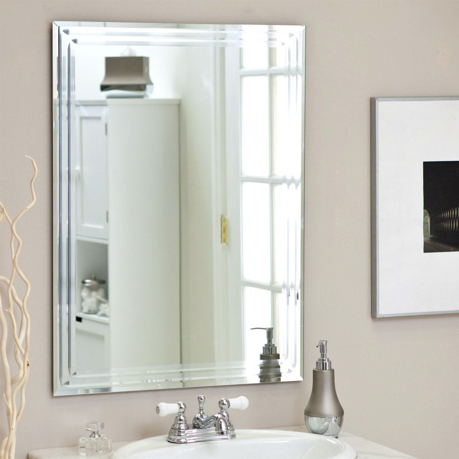 Rectangular 31.5-inch Bathroom Vanity Wall Mirror w/ Triple-Bevel Design