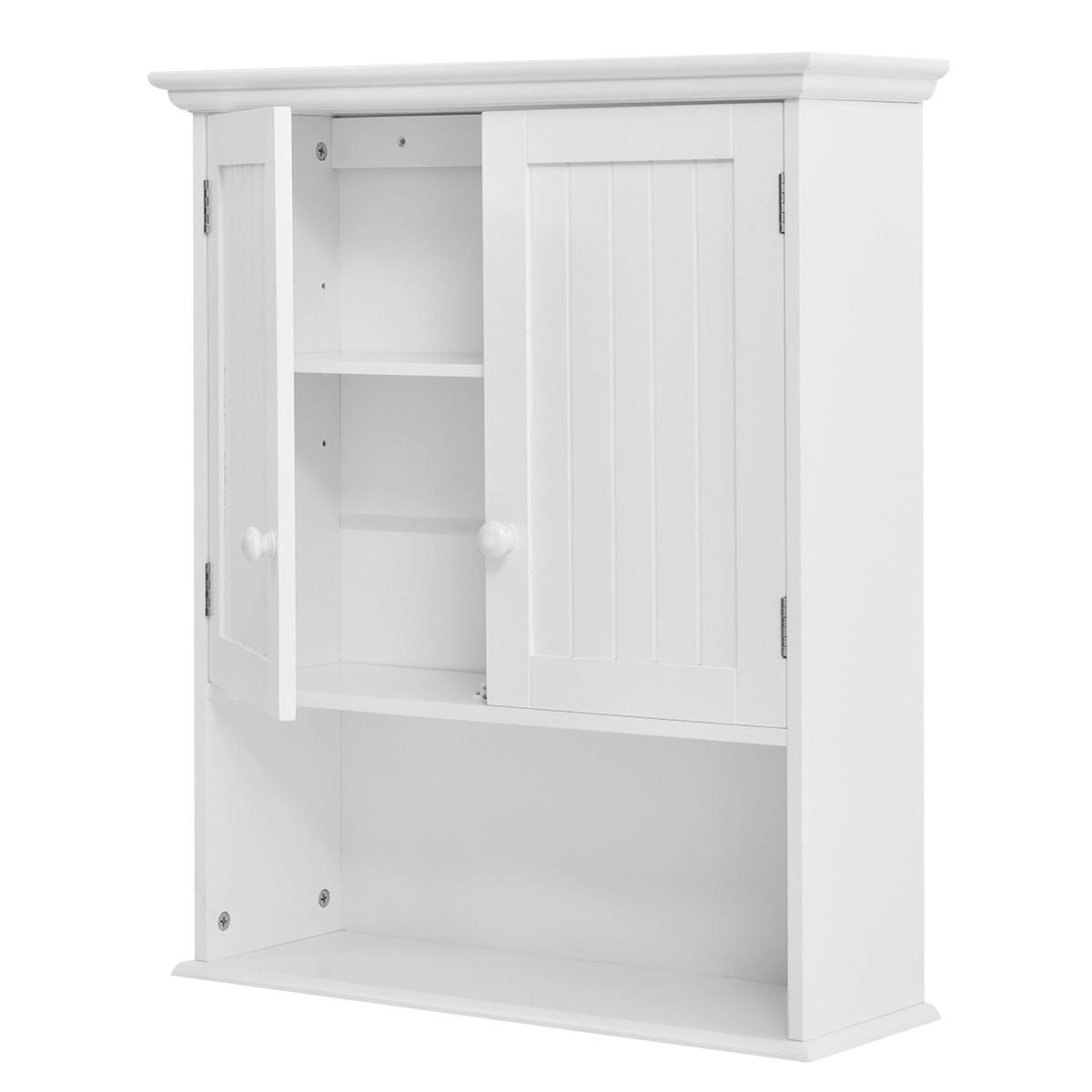 White Wall Mount Bathroom Cabinet with Storage Shelf
