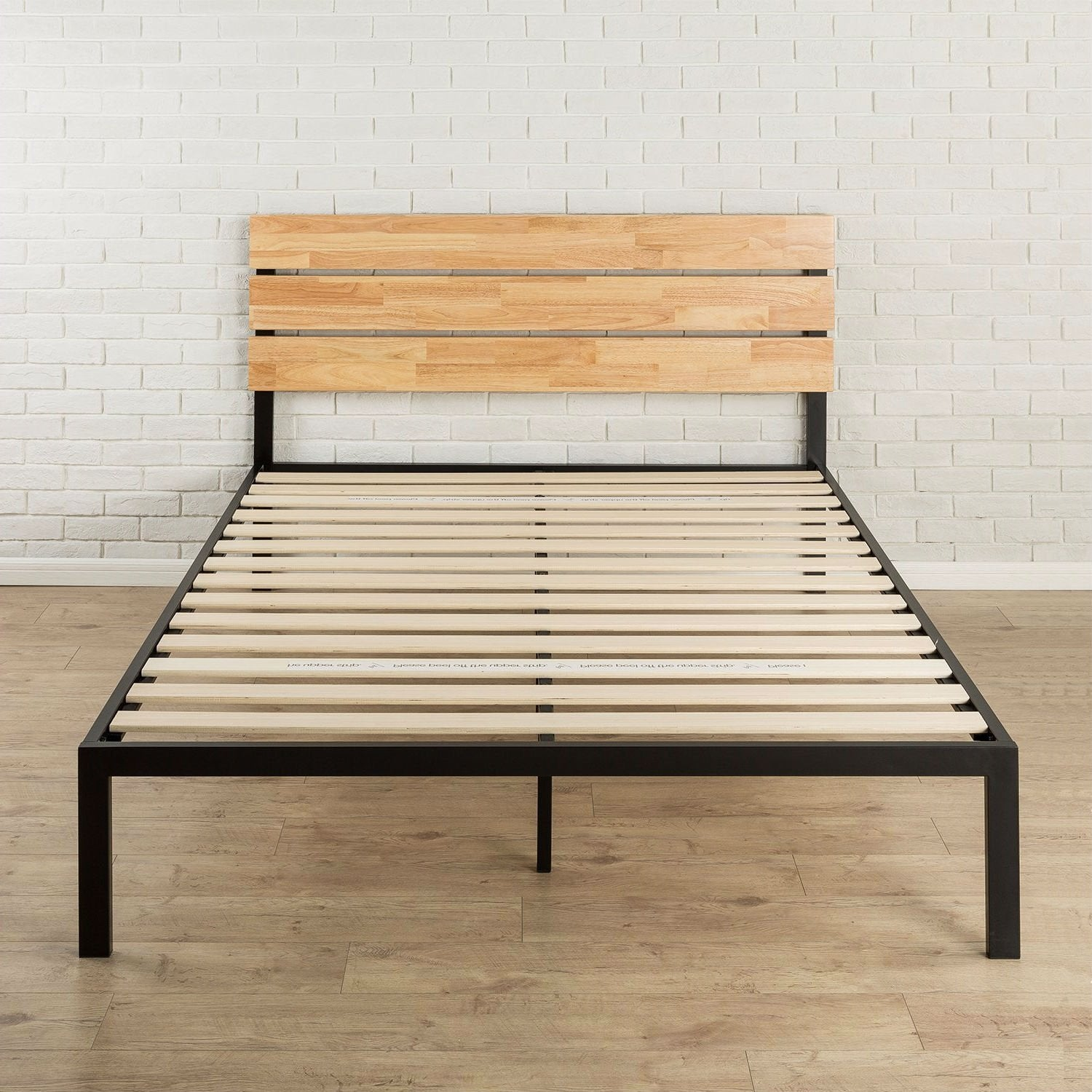 Twin size Heavy Duty Metal Platform bed Frame with Wood Slats and Headboard