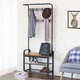 Entryway Modern Industrial Style Hall Tree Coat Rack Shoe Storage Bench