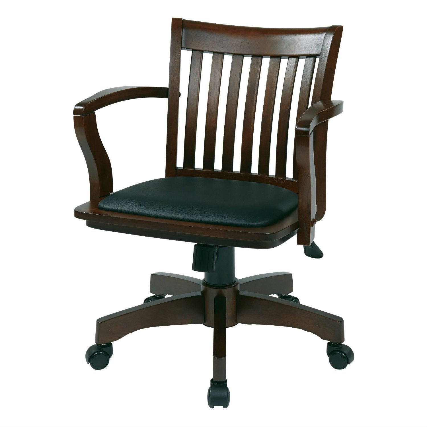Espresso Bankers Chair with  Black Vinyl Padded Seat and Wood Arms