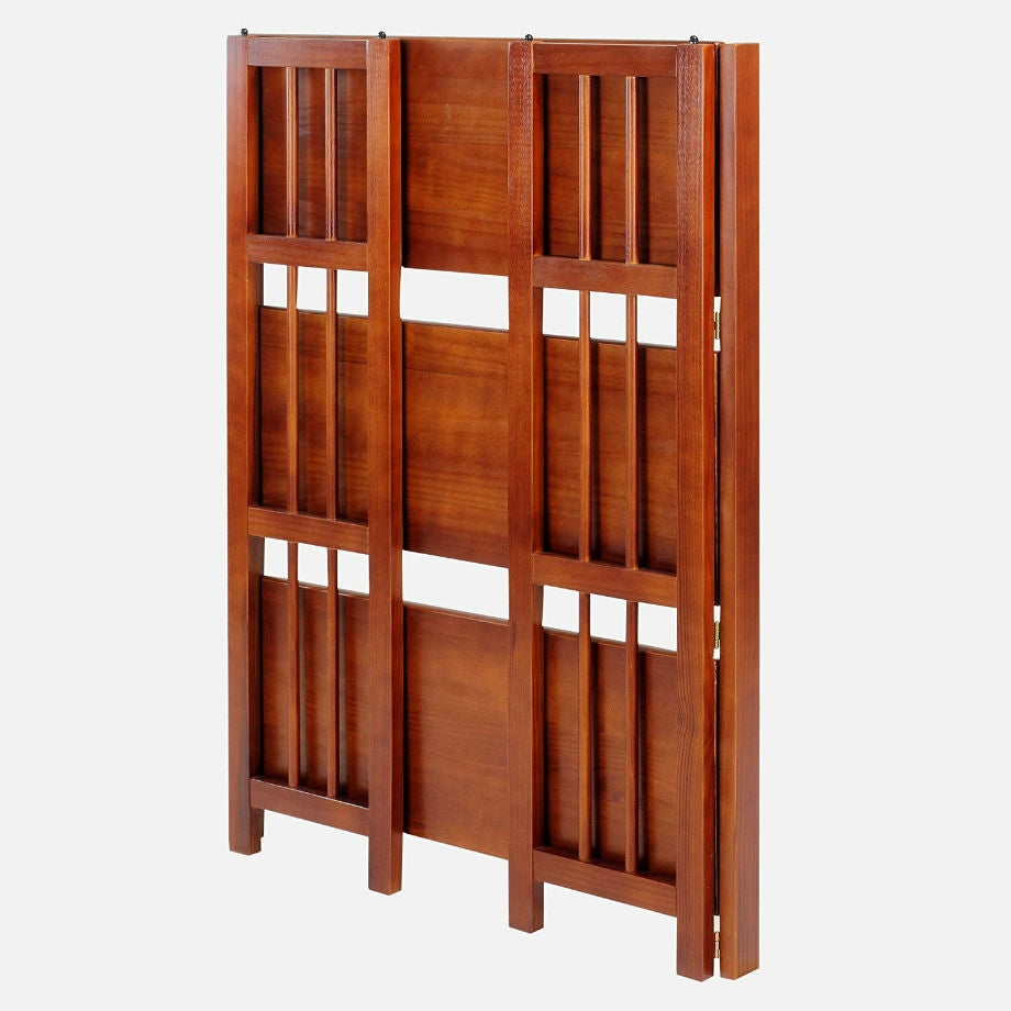 3-Shelf Folding Storage Shelves Bookcase in Walnut Wood Finish