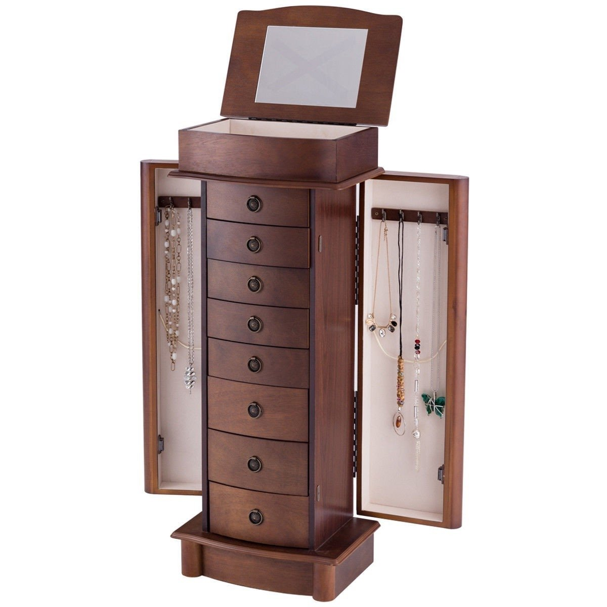 Brown Wood 8-Drawer Jewelry Armoire Chest Storage Cabinet with Mirror