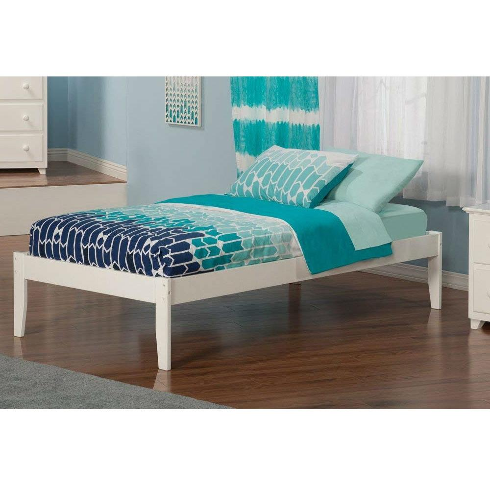 Twin XL Solid Hardwood Platform Bed Frame in White Wood Finish