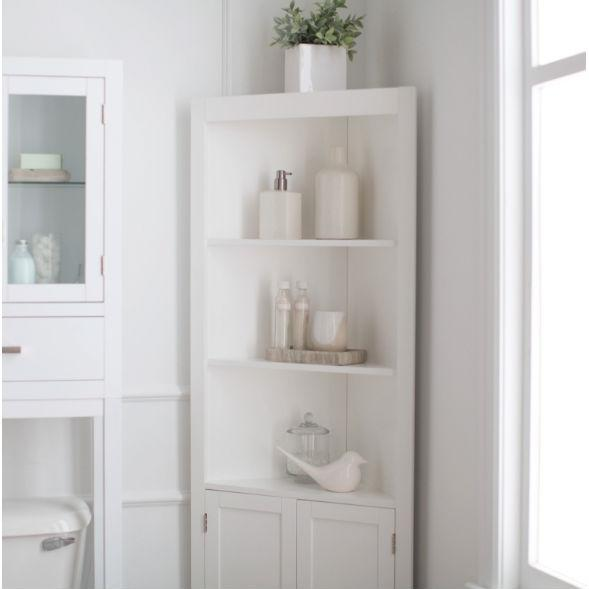 White Corner Bathroom Linen Cabinet with Shelves