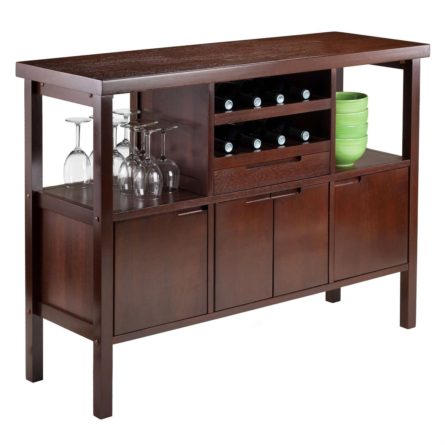 Sideboard Buffet Table Wine Rack in Brown Wood Finish