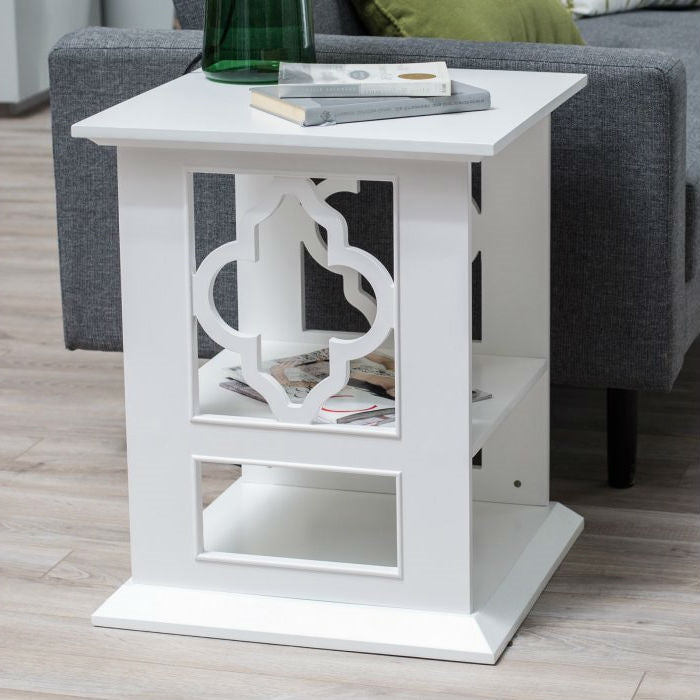White Wood 2-Shelf Quatrefoil End Table