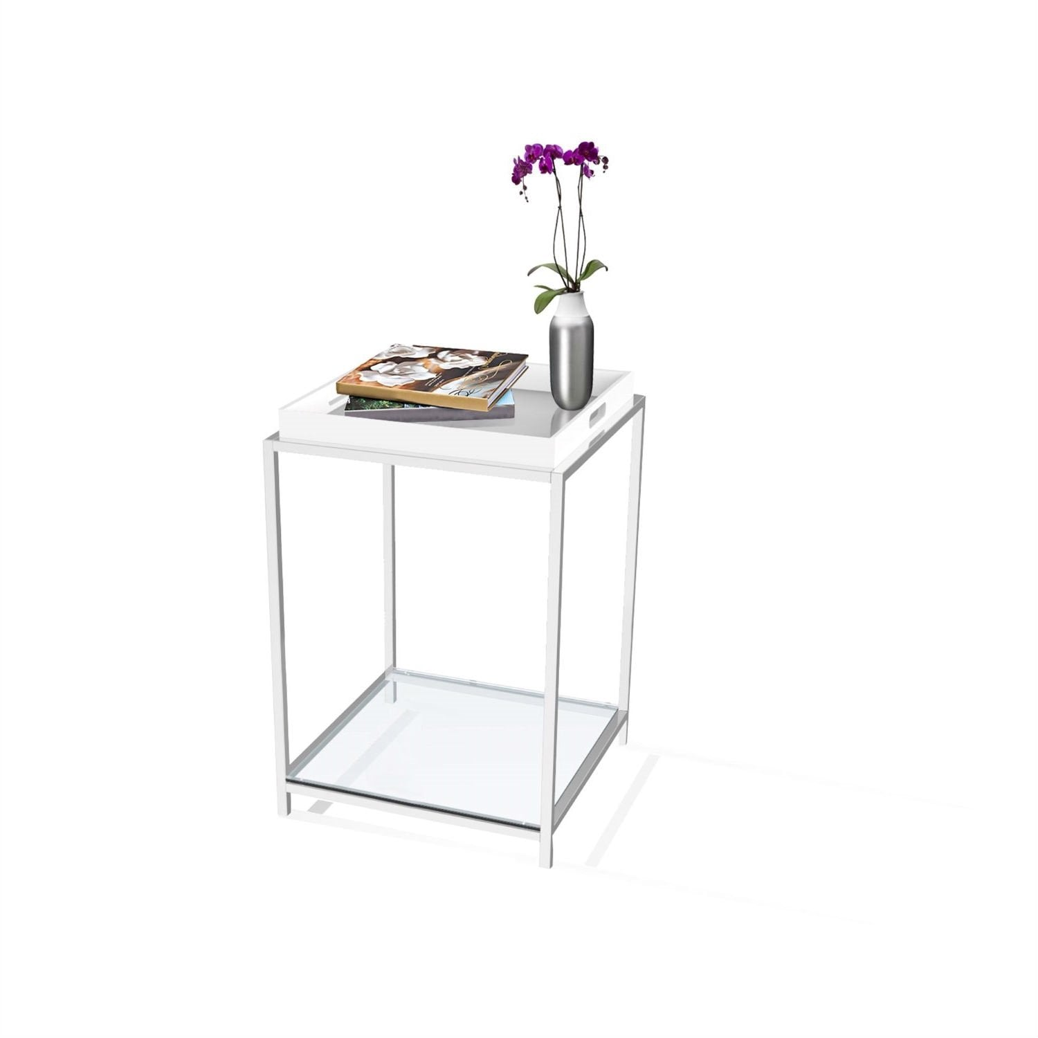 Modern Classic Metal End Table with White Removable Tray