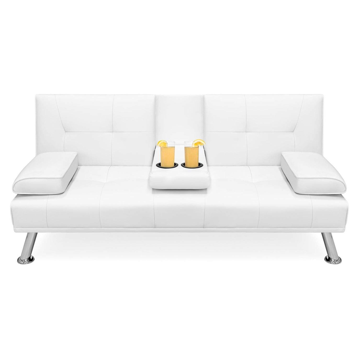 White Faux Leather Convertible Sofa Futon with 2 Cup Holders