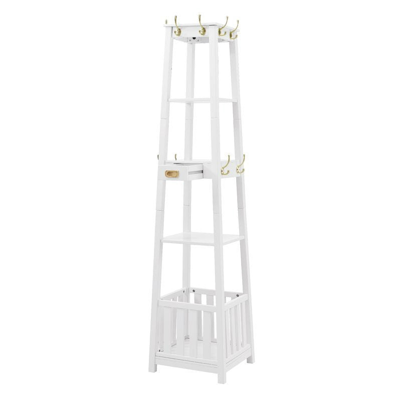 White Entryway Shelf Drawer Coat Rack Hall Storage Tree