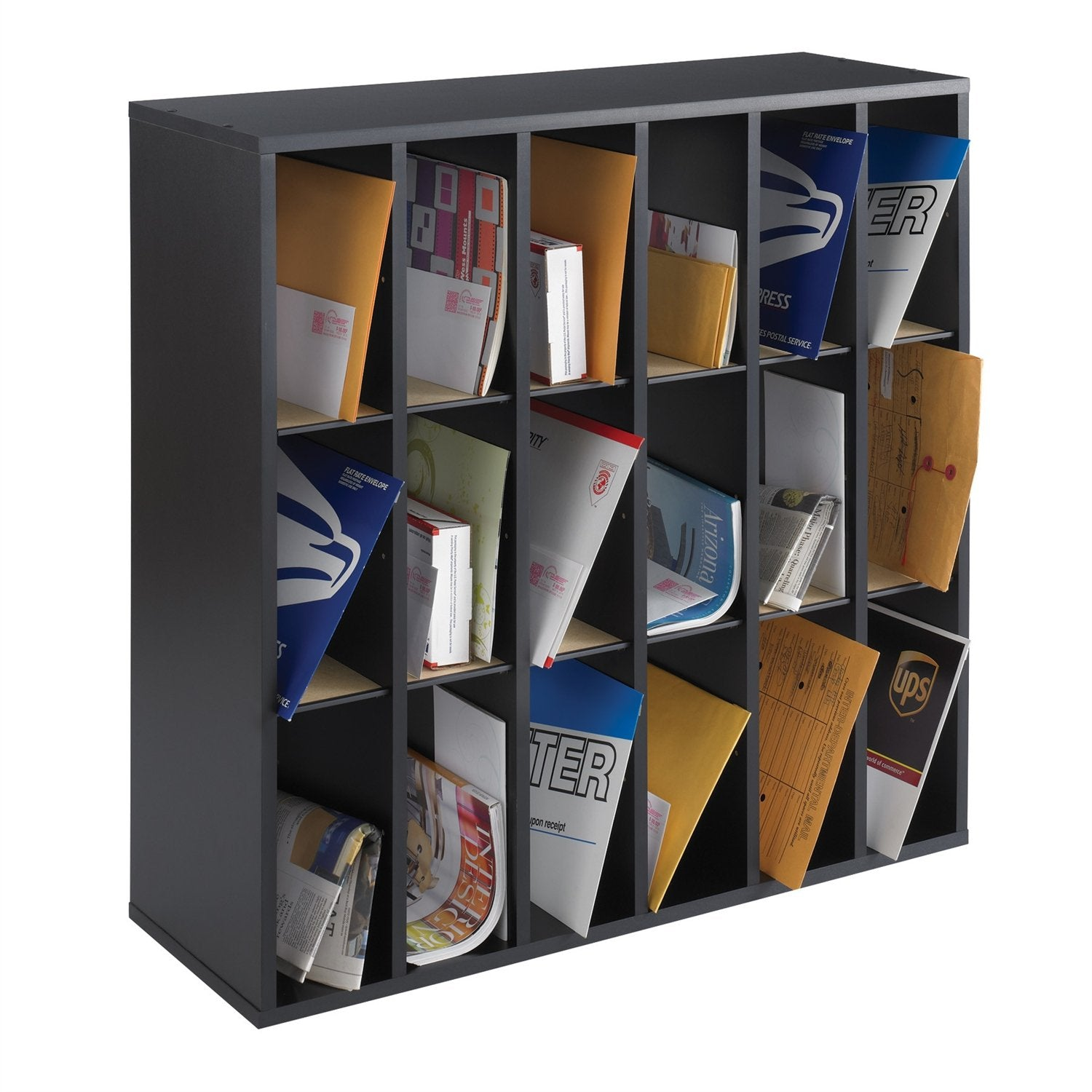 Wood 18 Compartment Mail Sorter Letter Holder Organizer in Black