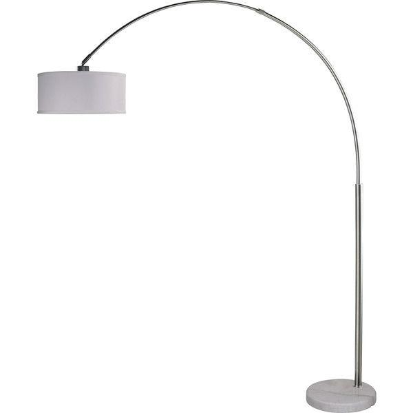 Modern 81-inch Arch Floor Lamp with White Drum Shade and Marble Base