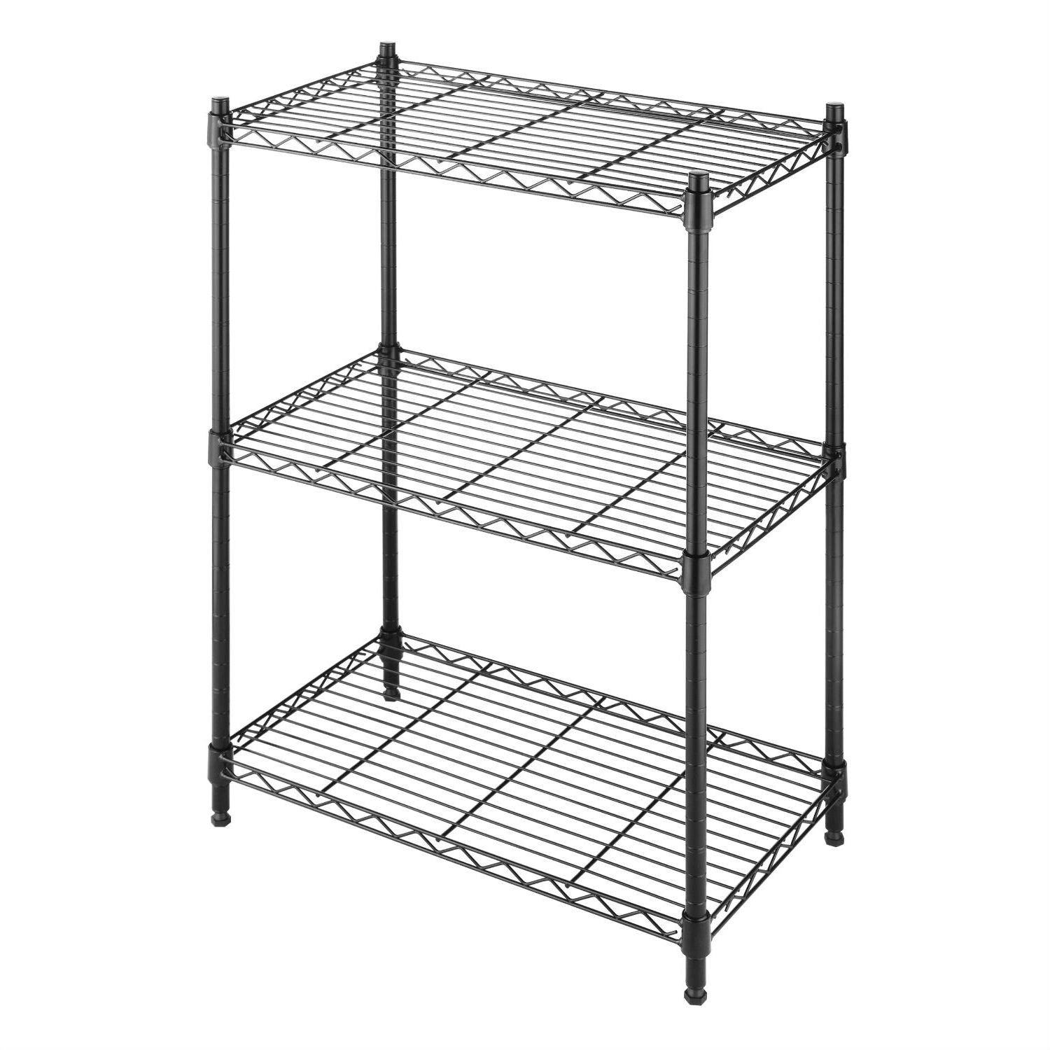 3-Shelf Storage Rack Shelving Unit in Black Metal with Adj. Feet