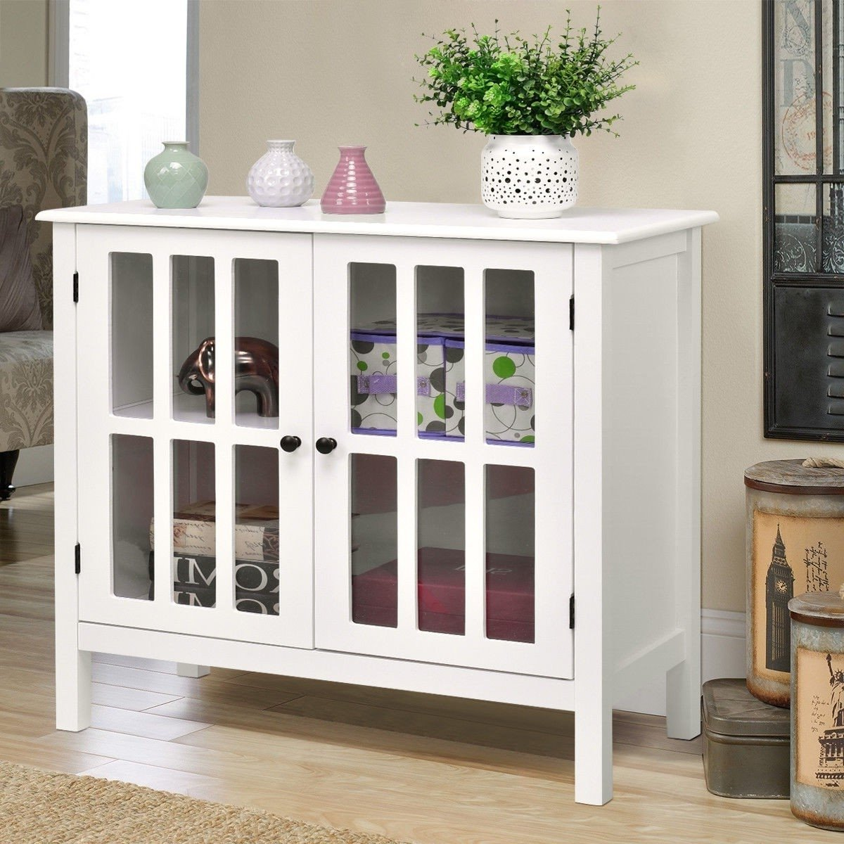 White Wood Sideboard Buffet Cabinet with Glass Panel Doors