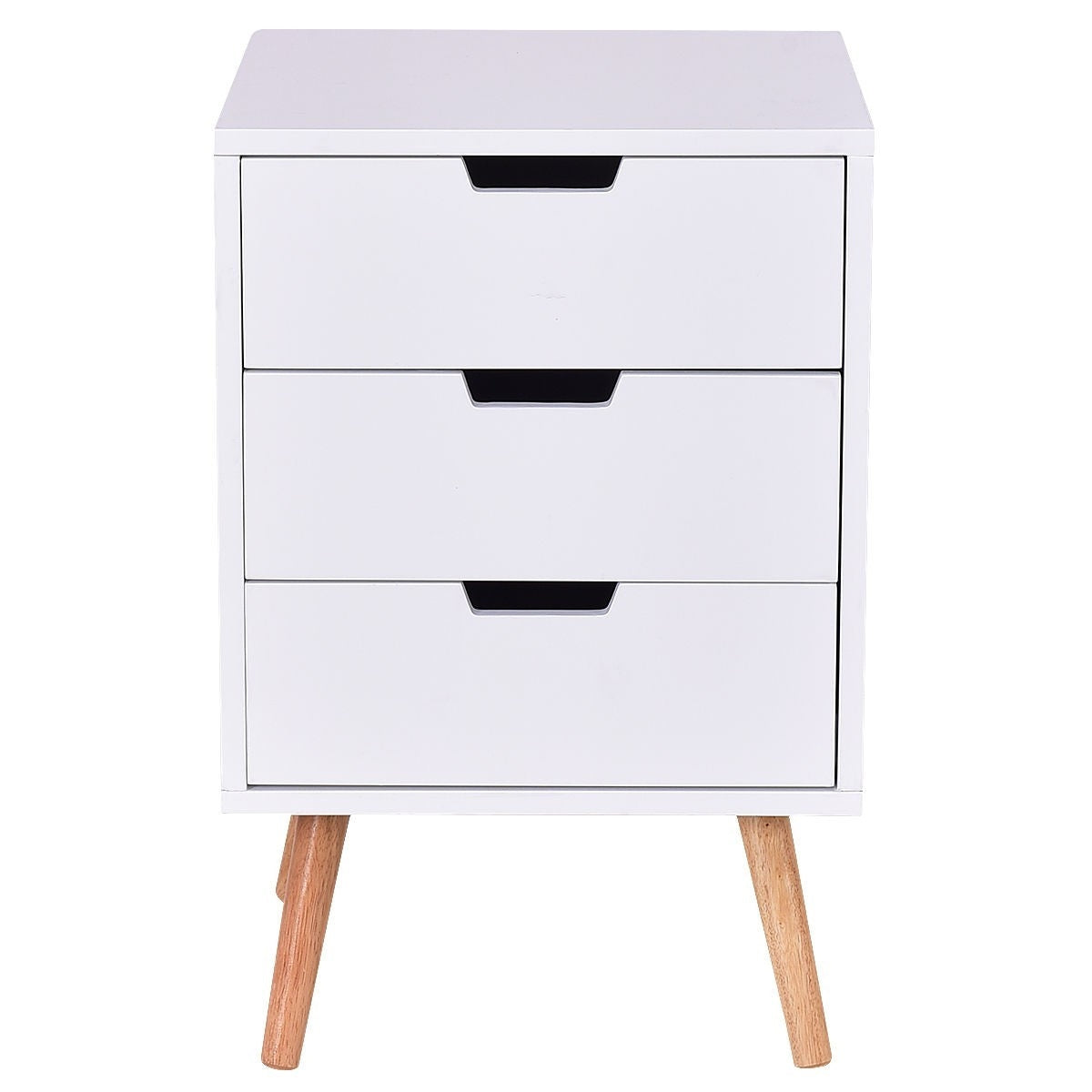 Modern Mid-Century Style 3-Drawer White Wood End Table Nightstand