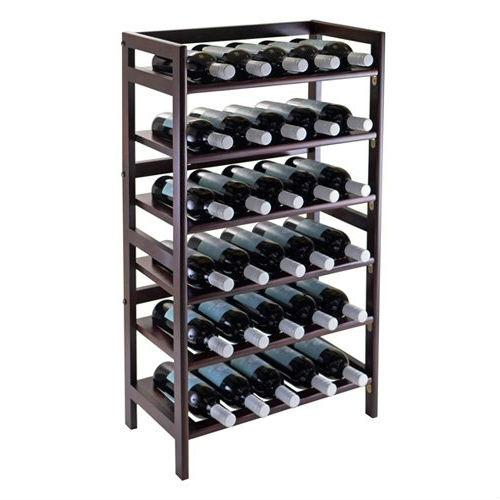 34-Bottle Wine Rack in Dark Brown Walnut Wood Finish