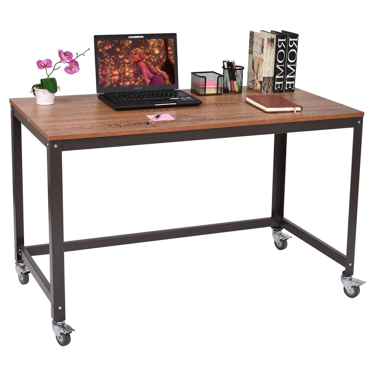 Industrial Modern Steel Frame Wood Top Computer Desk with Locking Wheels