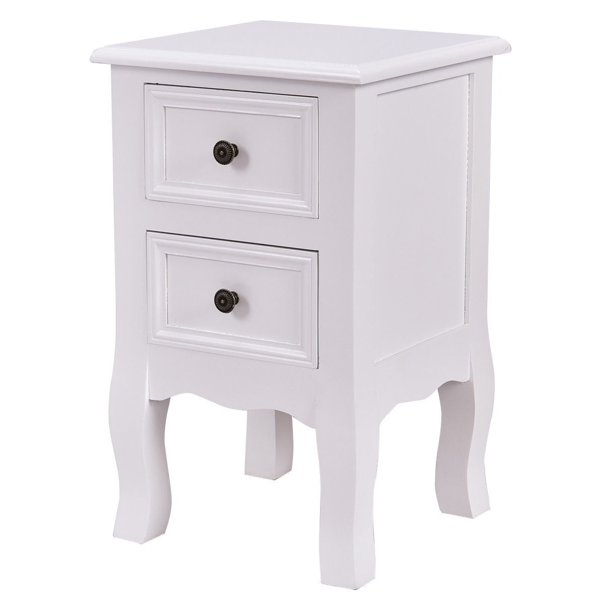 White Wooden 2-Drawer Accent End Table Nightstand