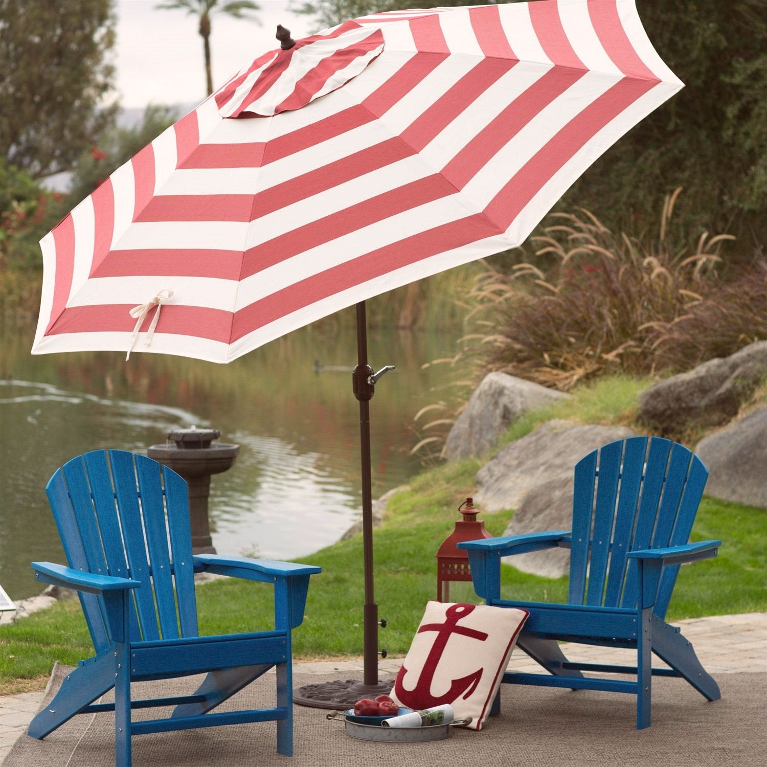 Outdoor 9-Ft Patio Umbrella with Tilt and Crank Lift in Coral Red White Stripe