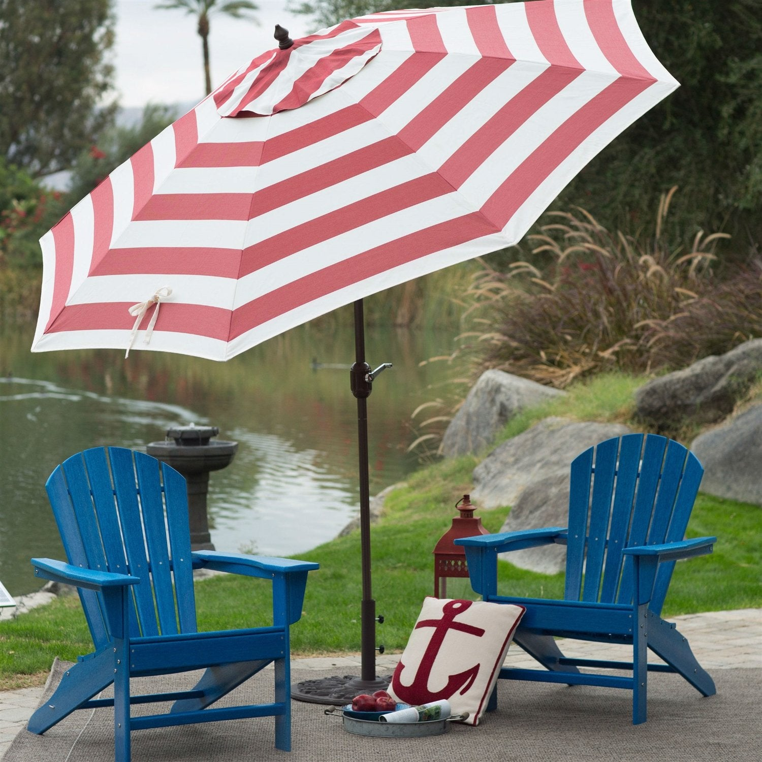 9-Ft Metal Patio Umbrella with Tilt and Crank Lift in Red and White Stripe