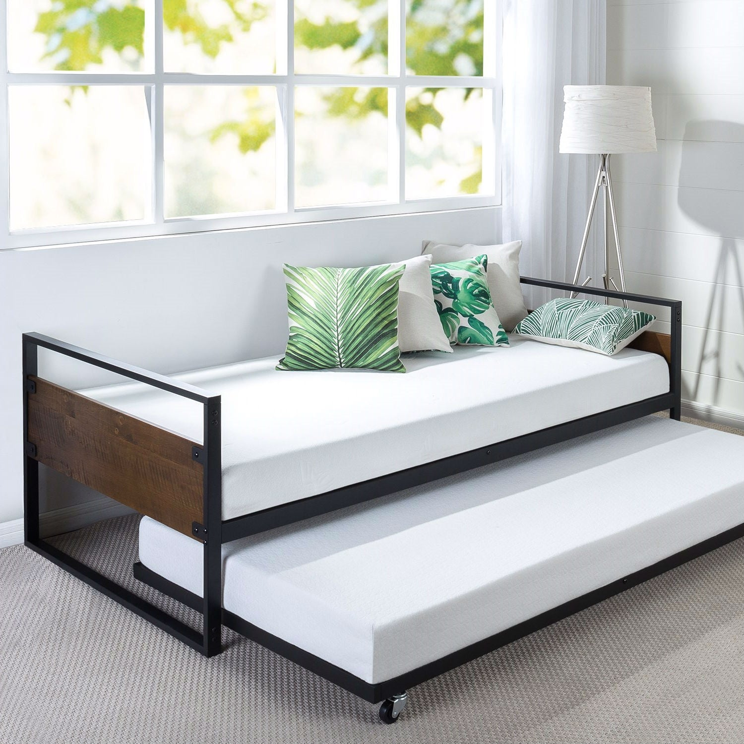 Twin size Metal Wood Daybed Frame with Roll Out Trundle Bed