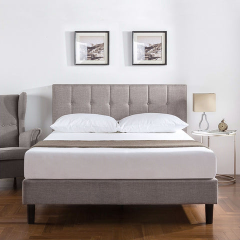 King Medium Grey Upholstered Platform Bed Frame with Button Tufted Headboard
