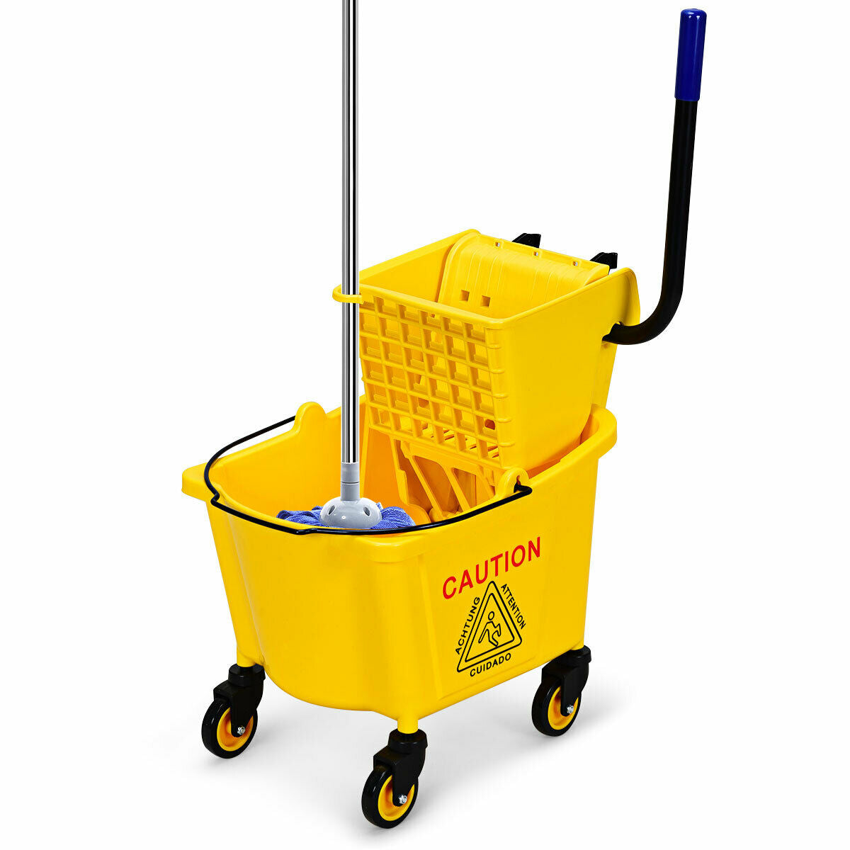 21 Quart Mop Bucket Side Press Wringer On Wheels With Panel Stable Structure
