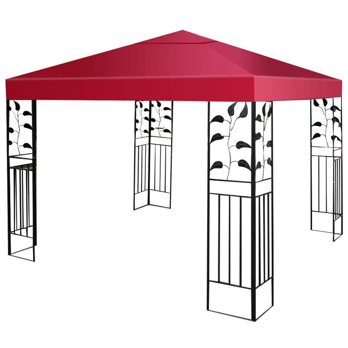 10' x 10' 1-Tier or 2-Tier 3 Colors Patio Canopy Top Replacement Cover-1 Tier Red
